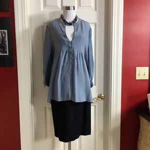 JOIE 100% Silk Blouse Top Large Blue Gray